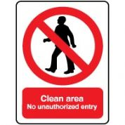 Prohibition safety sign - Clean Unauthorized 018